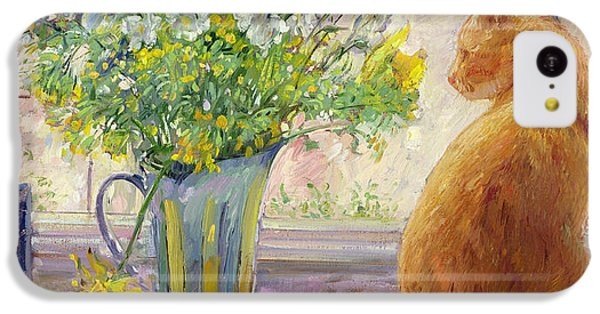 Pheasant iPhone 5c Case - Striped Jug With Spring Flowers by Timothy Easton