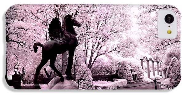 Surreal Infared Pink Black Sculpture Horse Pegasus Winged Horse Architectural Garden IPhone 5c Case by Kathy Fornal