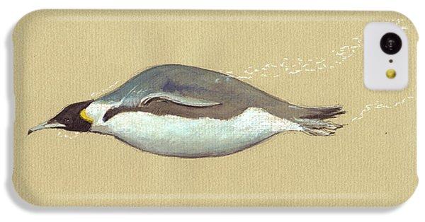 Penguin iPhone 5c Case - Swimming Penguin Painting by Juan  Bosco