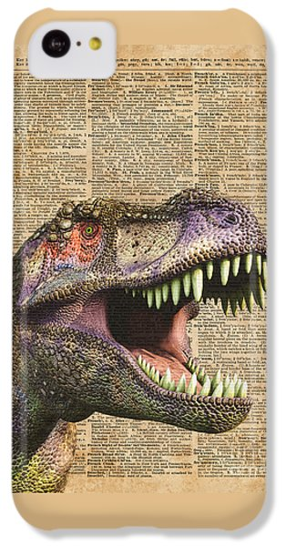 T-rex,tyrannosaurus,dinosaur Vintage Dictionary Art IPhone 5c Case by Jacob Kuch