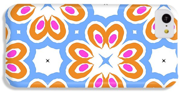 Floral iPhone 5c Case - Tangerine And Sky Floral Pattern- Art By Linda Woods by Linda Woods