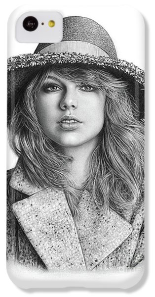 Taylor Swift Portrait Drawing IPhone 5c Case by Shierly Lin