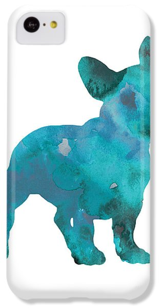 Dog iPhone 5c Case - Teal Frenchie Abstract Painting by Joanna Szmerdt