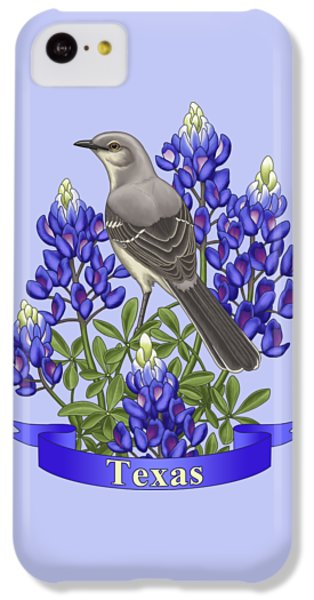 Texas State Mockingbird And Bluebonnet Flower IPhone 5c Case by Crista Forest