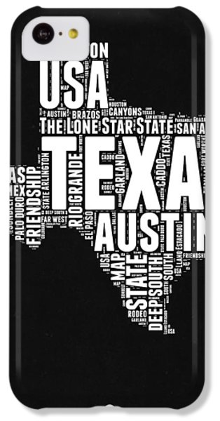 Austin iPhone 5c Case - Texas Word Cloud Black And White Map by Naxart Studio
