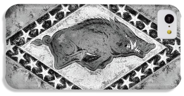 The Arkansas Razorbacks Black And White IPhone 5c Case by JC Findley