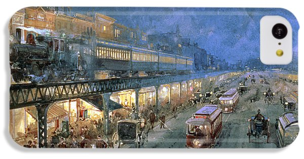 Train iPhone 5c Case - The Bowery At Night by William Sonntag
