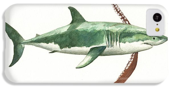 Hammerhead Shark iPhone 5c Case - The Great White Shark And The Octopus by Juan Bosco