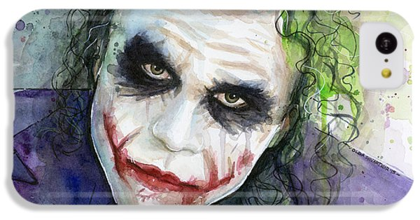 Knight iPhone 5c Case - The Joker Watercolor by Olga Shvartsur