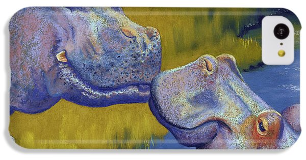 Hippopotamus iPhone 5c Case - The Kiss - Hippos by Tracy L Teeter