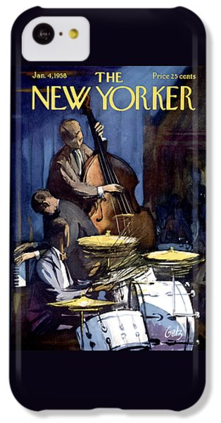 Drum iPhone 5c Case - The New Yorker Cover - January 4th, 1958 by Arthur Getz