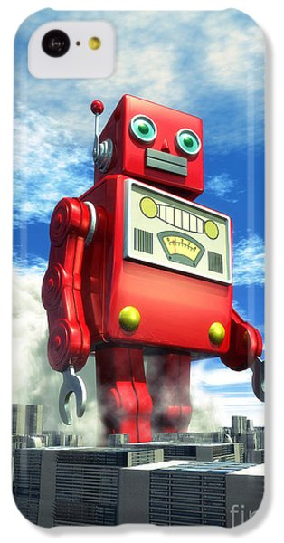 The Red Tin Robot And The City IPhone 5c Case by Luca Oleastri