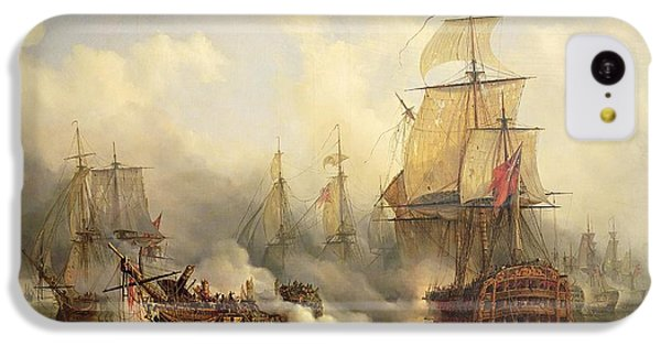 Boat iPhone 5c Case - Unknown Title Sea Battle by Auguste Etienne Francois Mayer
