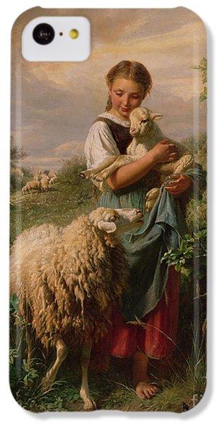 Sheep iPhone 5c Case - The Shepherdess by Johann Baptist Hofner