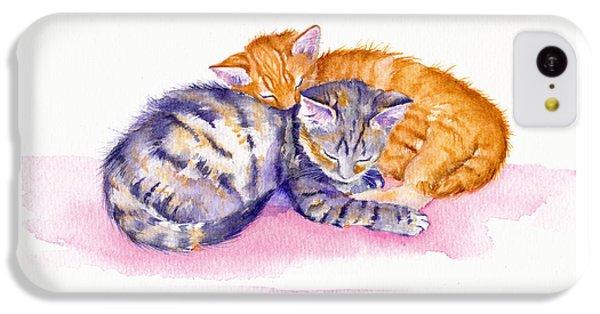Cat iPhone 5c Case - The Sleepy Kittens by Debra Hall