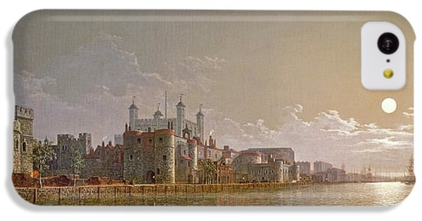 The Thames By Moonlight With Traitors' Gate And The Tower Of London IPhone 5c Case by Henry Pether
