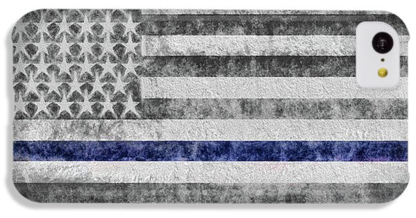 IPhone 5c Case featuring the digital art The Thin Blue Line American Flag by JC Findley