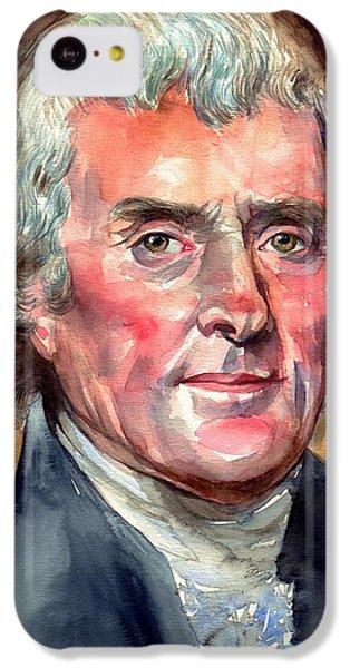 Thomas Jefferson iPhone 5c Case - Thomas Jefferson Portrait by Suzann's Art