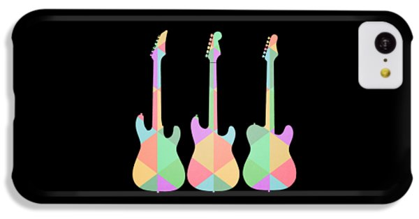 Guitar iPhone 5c Case - Three Guitars Triangles Tee by Edward Fielding