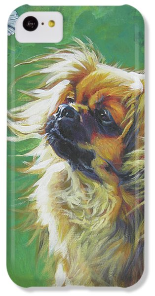 Tibetan Spaniel And Cabbage White Butterfly IPhone 5c Case by Lee Ann Shepard