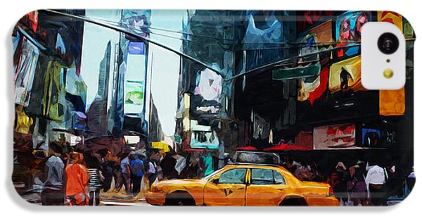 Times Square Taxi- Art By Linda Woods IPhone 5c Case by Linda Woods