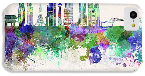 Tokyo V3 Skyline In Watercolor Background IPhone 5c Case