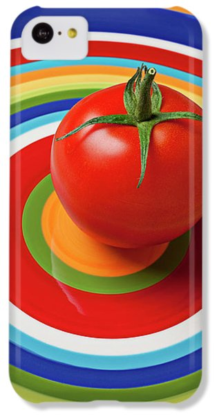 Vegetables iPhone 5c Case - Tomato On Plate With Circles by Garry Gay