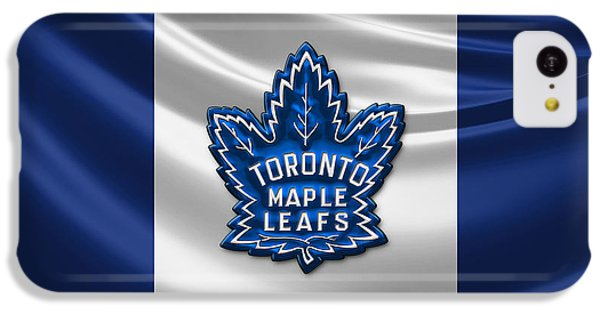 Sport iPhone 5c Case - Toronto Maple Leafs - 3d Badge Over Flag by Serge Averbukh