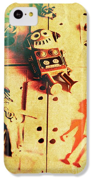 Sound iPhone 5c Case - Toy Robots On Vintage Cassettes by Jorgo Photography - Wall Art Gallery
