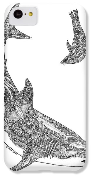 Tribal Great White And Sea Lion IPhone 5c Case by Carol Lynne