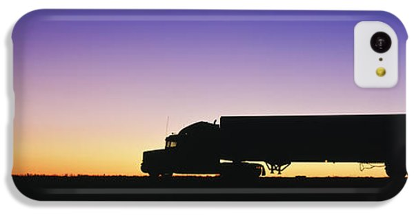 Truck iPhone 5c Case - Truck Parked On Freeway At Sunrise by Jeremy Woodhouse