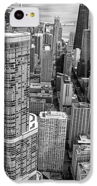 IPhone 5c Case featuring the photograph Trump Tower And John Hancock Aerial Black And White by Adam Romanowicz