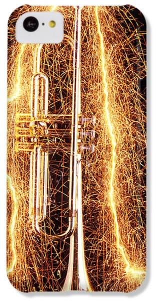 Music iPhone 5c Case - Trumpet Outlined With Sparks by Garry Gay