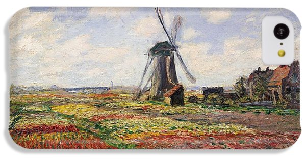 Tulip iPhone 5c Case - Tulip Fields With The Rijnsburg Windmill by Claude Monet