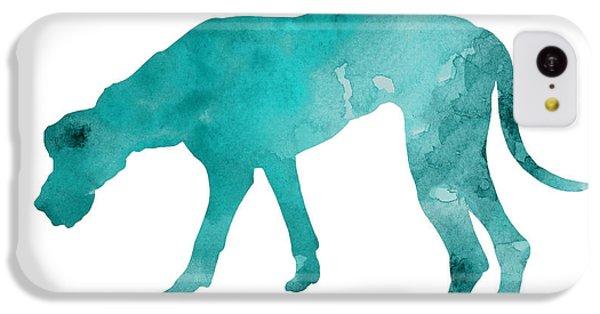 Turquoise Great Dane Watercolor Art Print Paitning IPhone 5c Case by Joanna Szmerdt