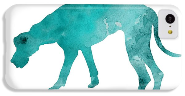 Turquoise Great Dane Watercolor Art Print Paitning IPhone 5c Case by Joanna Szmerdt