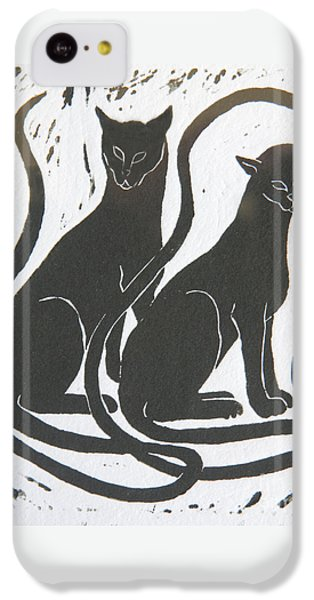 IPhone 5c Case featuring the drawing Two Black Felines by Nareeta Martin