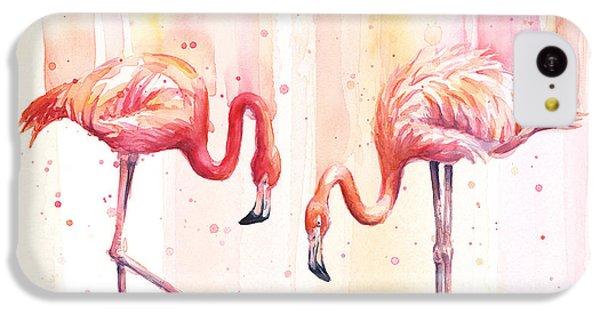 Flamingo iPhone 5c Case - Two Flamingos Watercolor by Olga Shvartsur