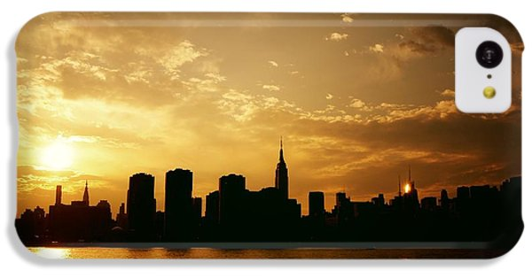 City Sunset iPhone 5c Case - Two Suns - The New York City Skyline In Silhouette At Sunset by Vivienne Gucwa