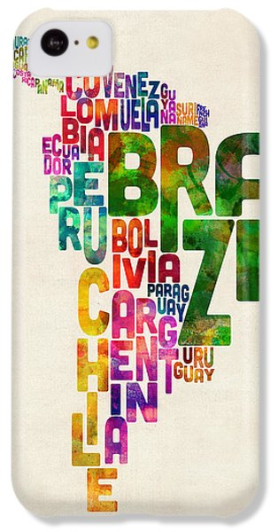 South America iPhone 5c Case - Typography Map Of Central And South America by Michael Tompsett