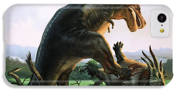 Tyrannosaurus Rex Eating A Styracosaurus IPhone 5c Case by William Francis Phillipps