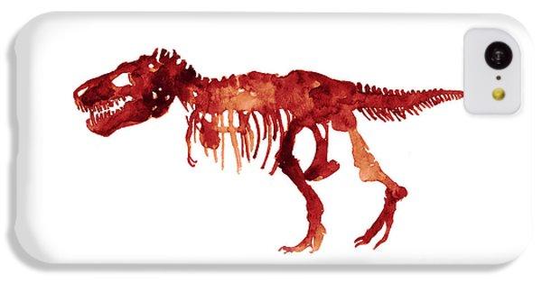 Tyrannosaurus Rex Skeleton Poster, T Rex Watercolor Painting, Red Orange Animal World Art Print IPhone 5c Case