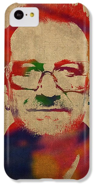 Bono iPhone 5c Case - U2 Bono Watercolor Portrait by Design Turnpike