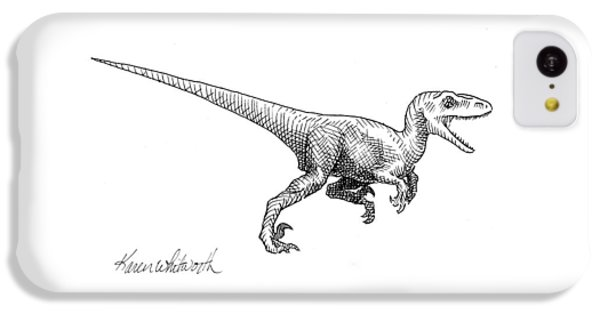 Velociraptor - Dinosaur Black And White Ink Drawing IPhone 5c Case
