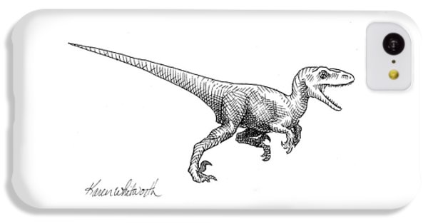 Velociraptor - Dinosaur Black And White Ink Drawing IPhone 5c Case by Karen Whitworth