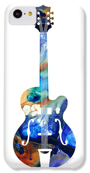 Music iPhone 5c Case - Vintage Guitar - Colorful Abstract Musical Instrument by Sharon Cummings