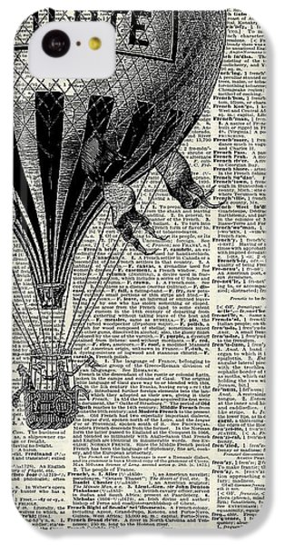 The iPhone 5c Case - Vintage Hot Air Balloon Illustration,antique Dictionary Book Page Design by Anna W
