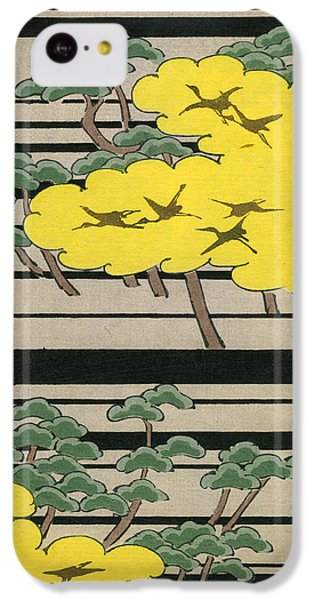Vintage Japanese Illustration Of An Abstract Forest Landscape With Flying Cranes IPhone 5c Case