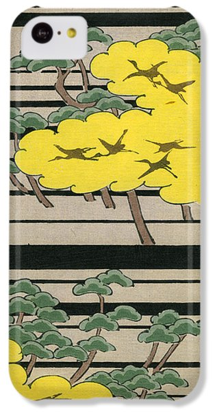 Vintage Japanese Illustration Of An Abstract Forest Landscape With Flying Cranes IPhone 5c Case by Japanese School
