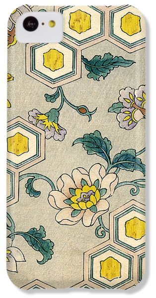 Flowers iPhone 5c Case - Vintage Japanese Illustration Of Blossoms On A Honeycomb Background by Japanese School